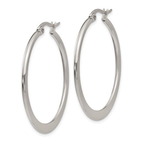 Chisel Stainless Steel 34mm Diameter Hoop Earrings