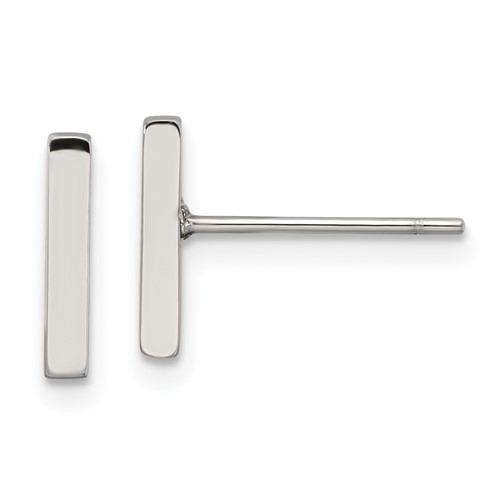 Stainless Steel Polished Bar Post Earrings
