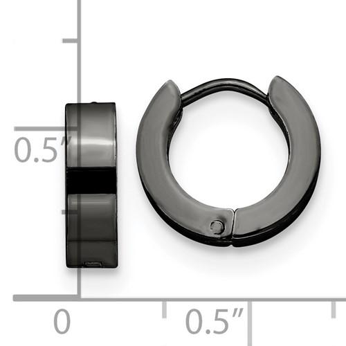 Stainless Steel Black IP-Plated Hinged Hoop Earrings