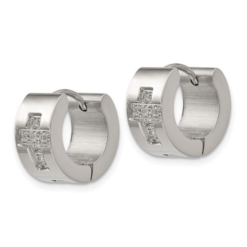 Stainless Steel CZ Cross Hinged Hoop Earrings