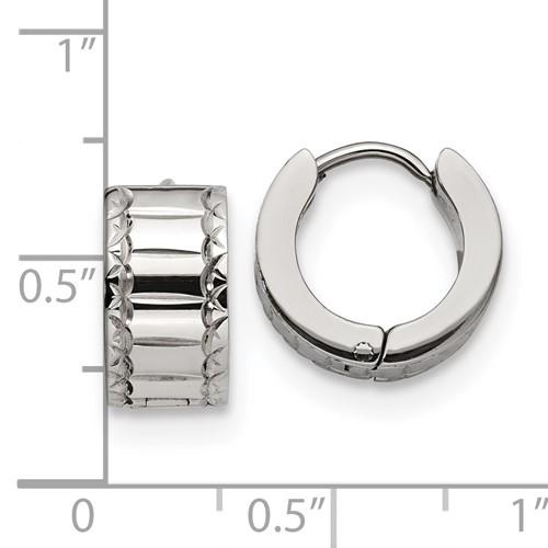 Stainless Steel Patterned Hinged Hoop Earrings