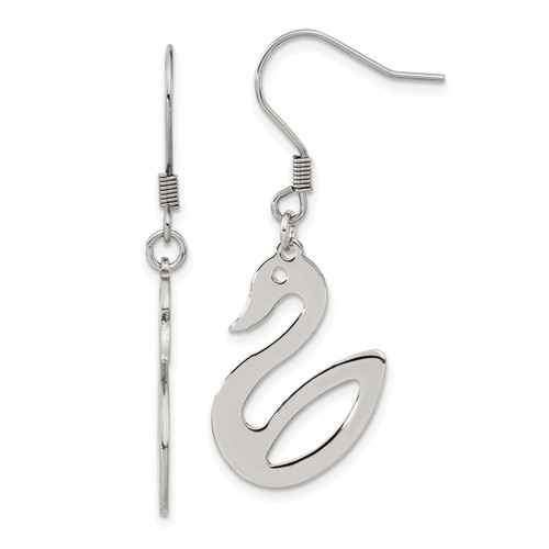 Chisel Stainless Steel Polished Swan Dangle Earrings