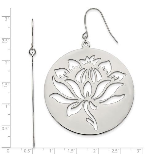 Chisel Stainless Steel Flower Cutout Dangle Earrings