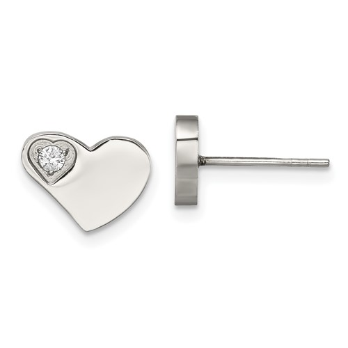 Chisel Stainless Steel CZ Polished Heart Post Earrings