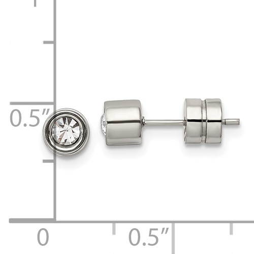 Chisel Stainless Steel CZ Polished Post Earrings