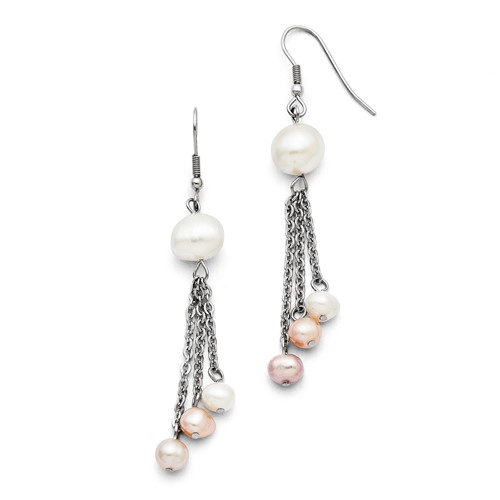Chisel Stainless Steel Freshwater Cultured Pearl Shepherd Hook Earrings