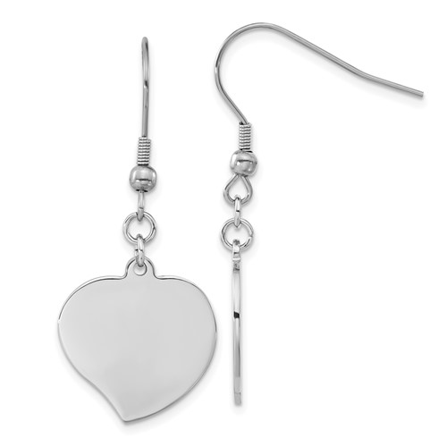 Chisel Stainless Steel Polished Heart Shepherd Hook Earrings