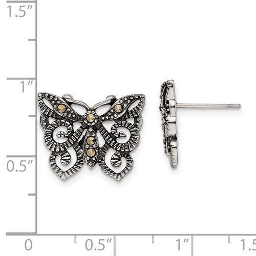 Chisel Stainless Steel Butterfly with Crystals Post Earrings