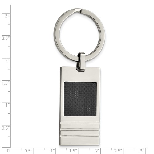 Chisel Stainless Steel Black Carbon Fiber Key Chain