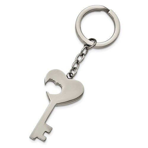 Stainless Steel Polished Key with Heart Cut-out Key Ring