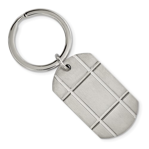 Stainless Steel Brushed Grooved Key Chain