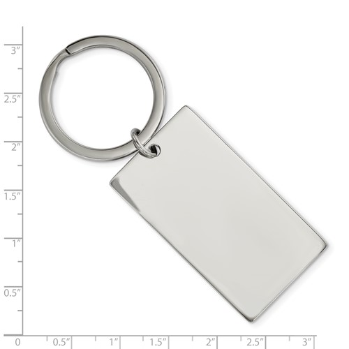 Stainless Steel Brushed and Polished 1.85mm Rectangle Reversible Key Chain