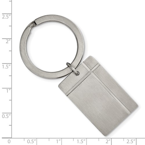 Stainless Steel Brushed and Grooved Key Chain
