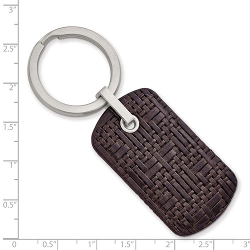 Stainless Steel Brushed Brown Woven and Stitched Leather Key Ring