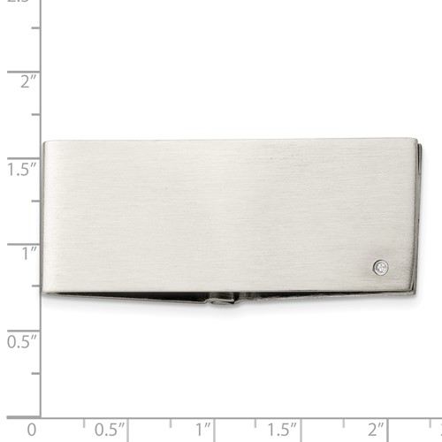 Chisel Stainless Steel Diamond Accent Money Clip