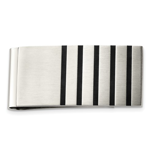 Chisel Stainless Steel Brushed with Rubber Accents Money Clip