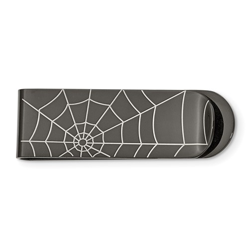 Chisel Stainless Steel Black-plated Spider Web Money Clip