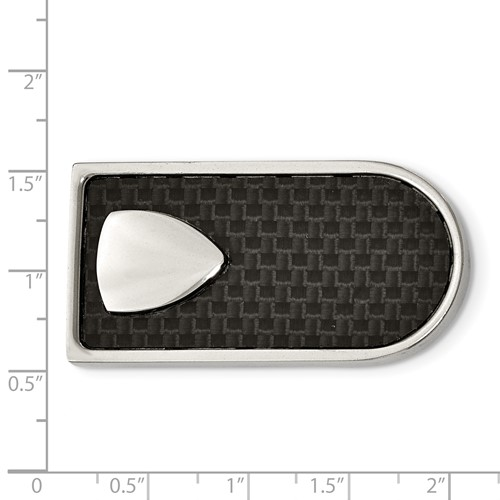 Stainless Steel Polished Black Carbon Fiber Inlay Money Clip