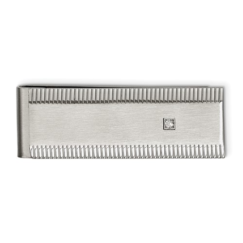 Stainless Steel Polished and Brushed CZ Money Clip