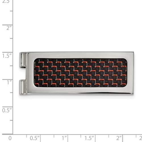 Stainless Steel Polished with Black and Red Carbon Fiber Inlay Money Clip