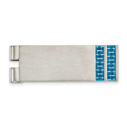 Stainless Steel Brushed Blue Carbon Fiber Inlay Money Clip