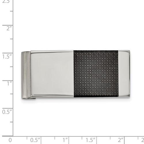 Stainless Steel Brushed and Polished Black Carbon Fiber Inlay Money Clip