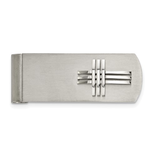Stainless Steel Brushed/Polished Cross Money Clip