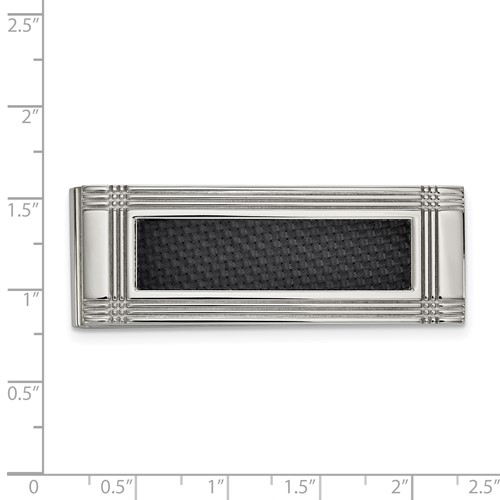 Stainless Steel Polished with Carbon Fiber Inlay Money Clip