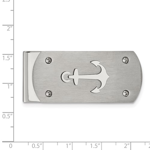 Stainless Steel Brushed and Polished Anchor Money Clip