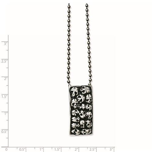 Chisel Stainless Steel Polished and Antiqued Skulls 24 inch Necklace