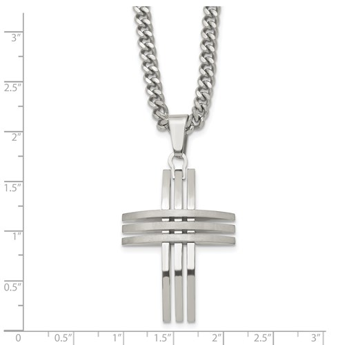 Chisel Stainless Steel Cross Necklace