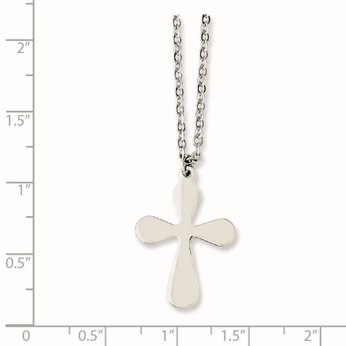Chisel Stainless Steel Polished Cross 17 inch with extension Necklace