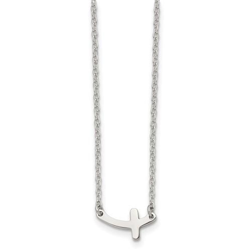 Chisel Stainless Steel Polished Sideways Cross 18 inch Necklace