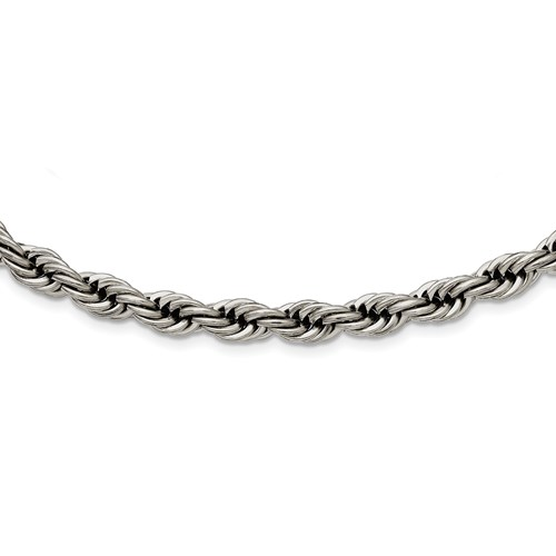 Stainless Steel Polished 7mm Rope Necklace