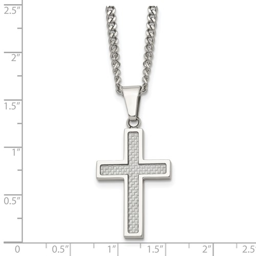 Chisel Stainless Steel Polished Grey Carbon Fiber Small Cross Necklace
