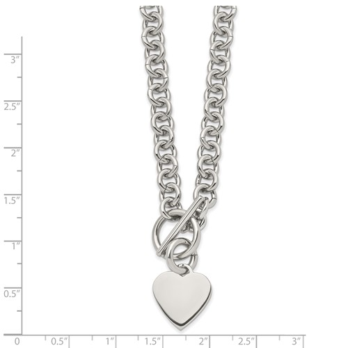 Stainless Steel Polished Heart Toggle Necklace