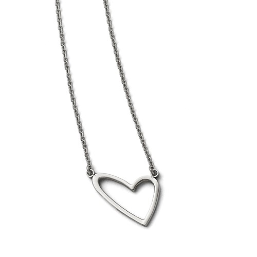Stainless Steel Polished Heart Necklace