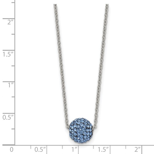 Stainless Steel Polished Blue Enamel with Crystals with 2in ext. Necklace