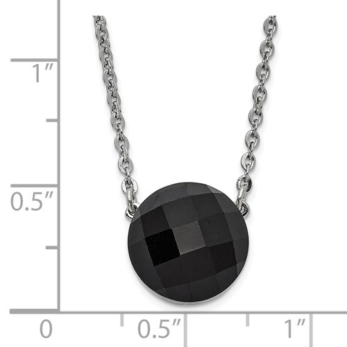 Stainless Steel Polished Dark Brown Glass with 1in ext Necklace