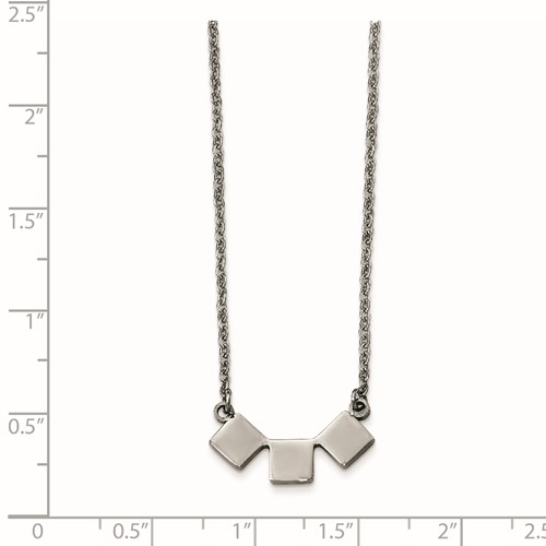 Stainless Steel Polished Three Squares Necklace