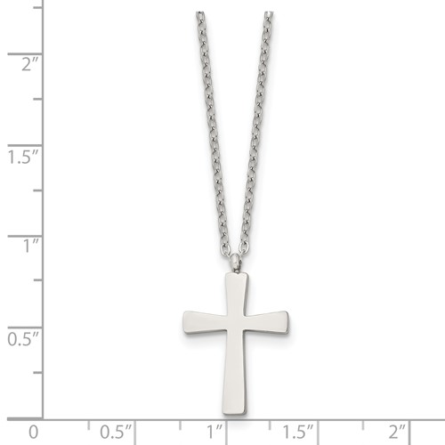 Stainless Steel Brushed and Polished Small Cross Necklace