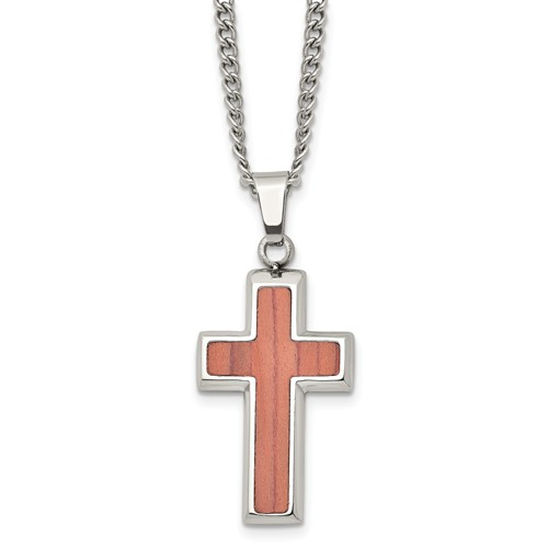 Stainless Steel Polished Wood Inlay Cross Necklace
