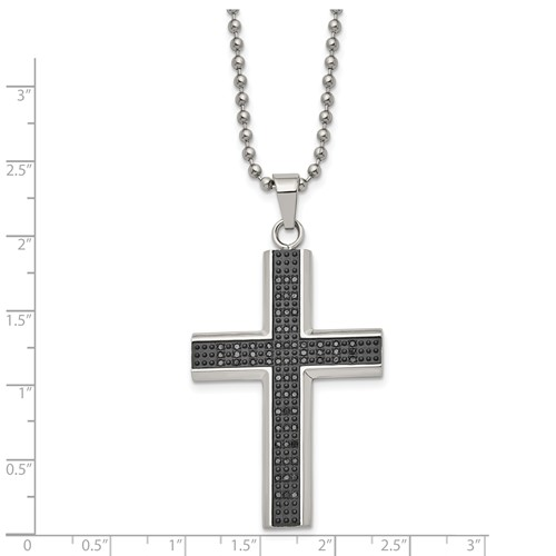 Stainless Steel Polished Black Rhodium Black Diamond Cross Necklace