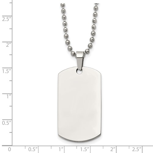 Stainless Steel Polished Rounded Edge 2mm Thick Dog Tag Necklace