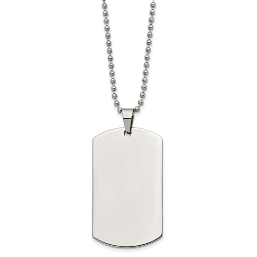 Stainless Steel Brushed and Polished Rounded Edge 2mm Thick Dog Tag Necklace