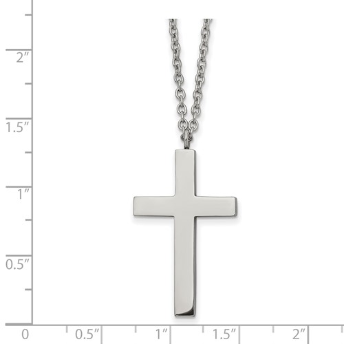 Stainless Steel Polished 32mm Cross 18 inch Necklace