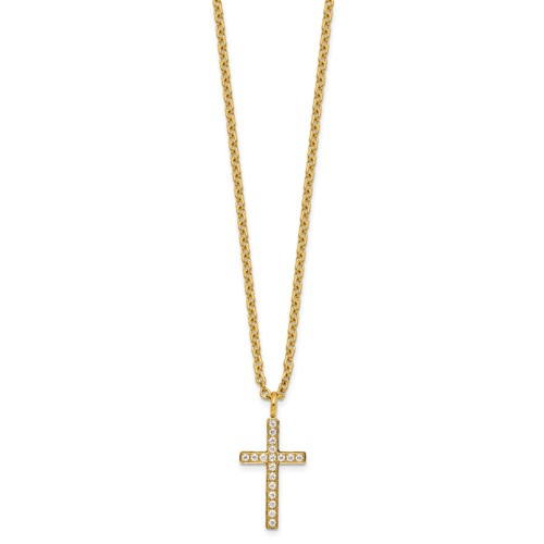 Stainless Steel Polished Yellow IP-plated with CZ Cross 20in Necklace