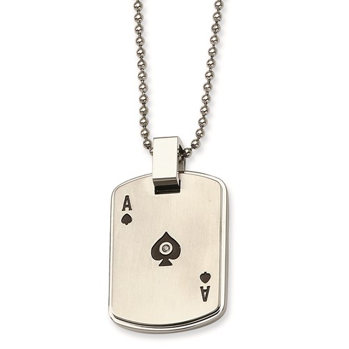 Chisel stainless steel black enamel ace of spades cz dog tag pendant chisel stainless steel black enamel ace of spades cz dog tag pendant necklace aloadofball Image collections