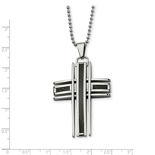 Chisel Stainless Steel Polished and Carbon Fiber Cross Pendant 24 inch Necklace