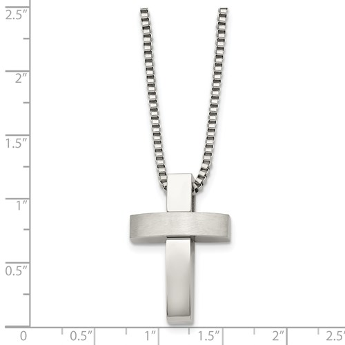 Chisel Stainless Steel Polished and Satin Cross Pendant 22 inch Necklace
